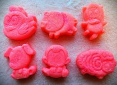 Fun mini soaps for the kids! Strawberries & Cream mini soaps.  You get all 6 soaps.  They are 1.5 to 2 oz each.  About 2 inches tall and wide.  Handmade Soap made with coconut oil, olive oil, palm oil, cocoa butter, water, lye, mineral mica powder (color), and fragrance oil.  Very moisturizing!...