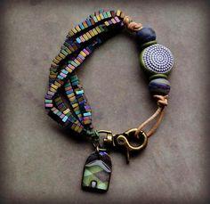 Asymmetrical Beaded Bracelet with House by LoreleiEurtoJewelry