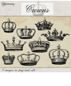50% OFF SALE! Instant Download - 30 Vintage Crowns Megapack, digital clip art and photoshop brushes: Tattoo Couronne, Couple Tattoos, Tattoos For Guys, Clipart, Crown Drawing, Crown Art, King Queen Tattoo, Orishas Yoruba, Crown Tattoo Design