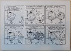 Originele 2 stroken-gag welke Jan van Haasteren in de jaren '80 voor het beschuitmerk Bolletje maakte.   Afmetingen: 29,5 x 21 cm.  Getekend op mooi dik papier.  Tekening in prima staat.  Wordt aangetekend verzonden, ophalen kan natuurlijk ook.   Van Haasteren groeide op in Schiedam waar hij op de Ambachtschool leerde voor huisschilder. Hierna ging hij naar de Academie voor Beeldende Kunsten in Rotterdam, waar hij op advies van zijn vader de opleiding Publiciteit & Reclame volgde. Na zijn…