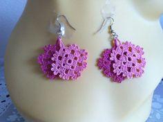 crochet earrings, crochet flower earrings, crochet lace jewelry, earrings,