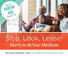 Are you looking for a new home in Madison, Wisconsin? Discover a Community Redefined® at ReNew Madison! We feature updated one-, two-, and three-bedroom apartment homes on 22 acres of picturesque grounds and serene common areas.  Take advantage of our current special and get a new 4K Smart TV. Contact us for details! #IAmReNewed