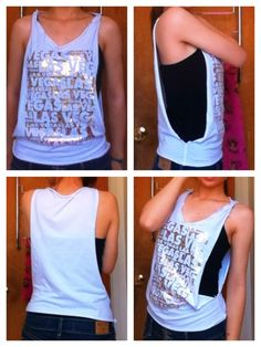 - Size: extra small/small - Originally a t-shirt cut into a tank top