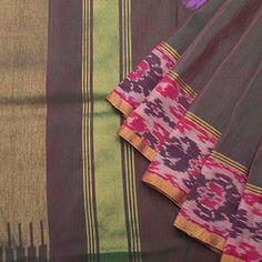 Linen - Lily Saris - Purplish Green Venkatagiri weave w Indonesian ikat border - Purplish Green blouse.