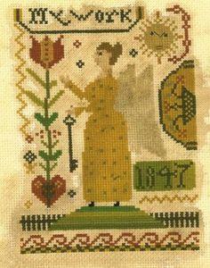 Frakture Angel  cross stitch pattern from - Notforgotten Farm, $8.00