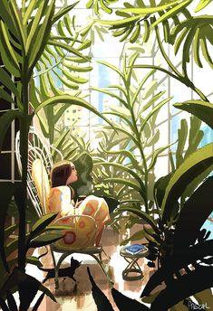 by PascalCampion houses illustration Green House . by PascalCampion on DeviantArt Kunst Inspo, Art Inspo, Art And Illustration, Anime Kunst, Anime Art, Arte Fashion, Figurative Kunst, Plant Art, Aesthetic Art