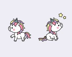 Premium Vector Clipart Kawaii unicornios unicornios lindos