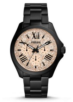 Fossil Watch AM4593 Women's Black with Rose Gold BLING Face  #Fossil