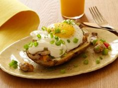 Stuffed Potato Skin Skillet Hash with Fried Eggs : Recipes : Cooking Channel
