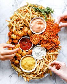 What's better than a cheese board? Enter the French Fry Board - - The French Fries Board, or Fry Board, is made up of a variety of different types of fries paired with an assortment of dipping sauces. Appetizer Recipes, Appetizers, Appetizer Ideas, Ham Recipes, Steak Recipes, French Food Recipes, Chicken Recipes, Dessert Recipes, Icing Recipes
