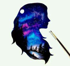 Girl in the night shilouette things to draw watercolor art, Galaxy Painting, Galaxy Art, Disney Kunst, Disney Art, Beautiful Drawings, Cute Drawings, Fantasy Kunst, Fantasy Art, Arte Sketchbook