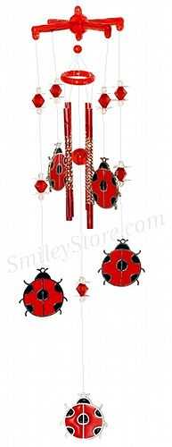 Ladybug windchimes - Hmmm, could turkey vultures be done? paper mobile? aluminum from cans?