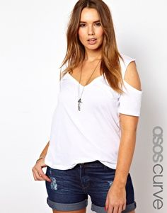 Image 1 of ASOS CURVE Top With Cold Shoulder