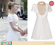 Paige's white bib ruffle dress on Royal Pains.  Outfit details: http://wornontv.net/18081/