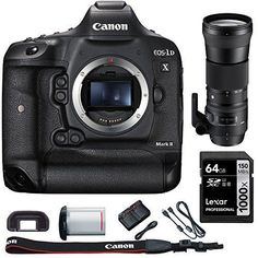Canon EOS-1D X Mark II Digital SLR Camera Body with Bundle Includes, Sigma 150-600mm F5-6.3 DG OS HSM Zoom Lens for Canon DSLR Cameras   Lexar 64GB 1000x SDHC/SDXC Class 10 Memory Card