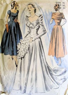 1000 ideas about 1940s wedding dresses on pinterest for 1940s wedding dress patterns