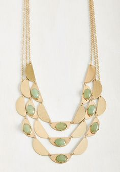 Bunting for Joy Necklace in Sage - Green, Work, Casual, Daytime Party, Fall, Gold, Solid, Variation