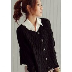 $9.72 Polite V-Neck Flax Patterns Batwing Sleeve Cardigan For Women