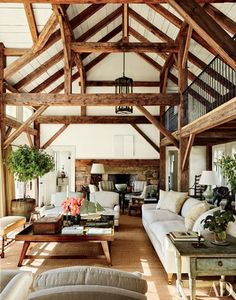 Reclaimed timber beams accent the barnlike common room at Lynn and Sir Evelyn de Rothschild's Martha's Vineyard home, which was built by Rivkin/Weisman Architects and decorated by Mark Cunningham. Perfect example of too much going on. Architectural Digest, Style At Home, Country Style Homes, Common Room, House In The Woods, Great Rooms, Home And Living, Cozy Living, Living Room Cabin
