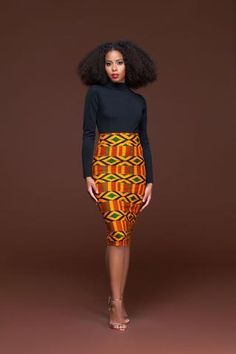 PRE ORDER AFRICAN PRINT NINA PENCIL SKIRT ( SHIPPING DEC 12TH )