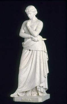 In Greek mythology, Medea punished her unfaithful husband by murdering their two children. Rather than portraying the horrific deed, the sculptor selected an earlier moment of high psychological drama. William Wetmore Story, Medea, about 1868–80.