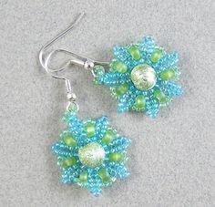 Sunburst Beadwoven Seed Bead Earrings