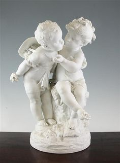 After Auguste Moreau. A large French biscuit porcelain group