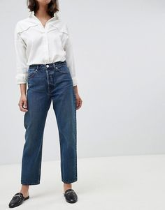 e15a1586b86 ASOS DESIGN Recycled Florence authentic straight leg jeans in dark  stonewash blue with contrast red stitch