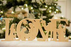 Wooden Christmas Nativity Scene Love Solid by LilacHarvestLLC