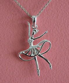 925 Sterling Silver CZ Ballerina Ballet Dancer Pendant Necklace -Dancer Necklace