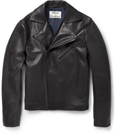 $1,450, Black Leather Biker Jacket: Acne Studios Gibson Slim Fit Leather Biker Jacket. Sold by MR PORTER. Click for more info: http://lookastic.com/men/shop_items/33862/redirect