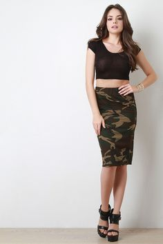 Sporty Camo Print Pencil Skirt