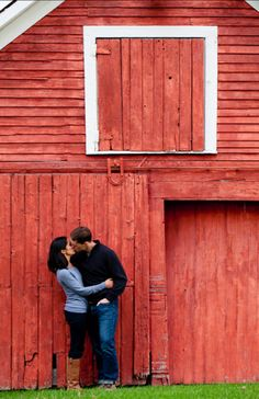 Cute pic..in front of barn for engagement announcement or save the date pic..