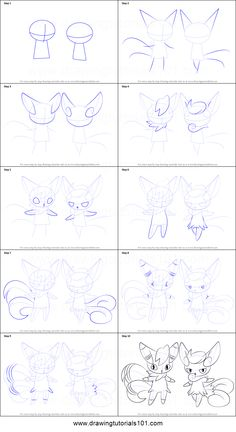 How to Draw Meowstic from Pokemon printable step by step drawing sheet : DrawingTutorials101.com