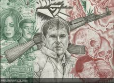 Chapo Guzman's Arrest Sheds Light on Mexican Convention Against Torture Claims Gangster Tattoos, Chicano Tattoos, Chicano Art, Art Tattoos, Aztec Tattoo Designs, Skull Tattoo Design, Joaquin Guzman, Best Cover Up Tattoos, Chapo Guzman