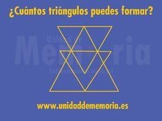 UNIDAD DE MEMORIA ENTRENAMIENTO CEREBRAL: ¿Cuántos triángulos puedes formar? Reto Mental, Optical Illusions, Picsart, Management, Memories, Marketing, Funny, Maths