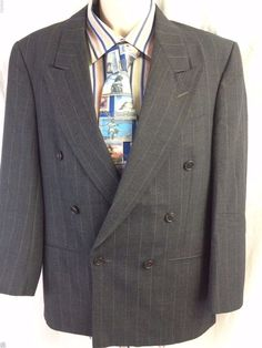 Christian Dior Monsieur Sport Coat Size 36S Gray Pinstripe Pure Virgin Wool #ChristianDior #DoubleBreasted