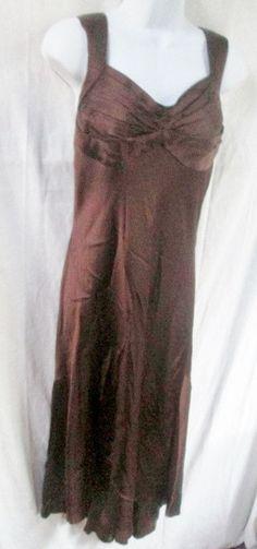 WOMENS CARMEN MARC VALVO Dress Sleeveless Full Maxi Gown 12 BROWN