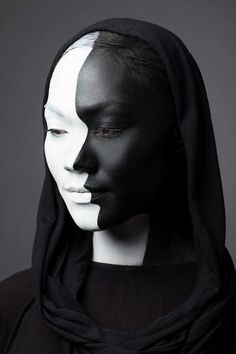 Woman's face black & white