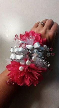 Pink Prom silk wrist corsage, wedding corsage, pink silk mothers day corsage by HonestlySweetgifts on Etsy