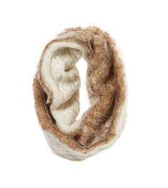 Baby, it's cold outside! Love this cable knit & fur-lined snood! xo #MerryAerie