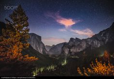 Tunnel View at Night - stock photo