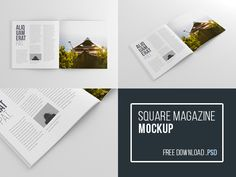 Free Square Magazine Mockup (Psd) designed by Wassim ✈. Connect with them on Dribbble; the global community for designers and creative professionals. Magazine Mockup, Illustrator, Mockup Templates, Templates Free, Free Magazines, Brochure Cover, Photoshop, Brochure Ideas, Book Design