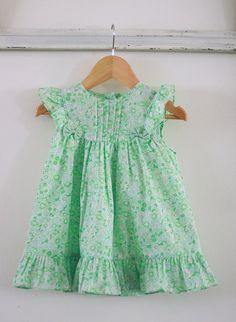 Vintage baby girl dress mint green floral
