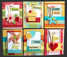 So many fun card ideas.  Would love to try each with our fabulous CTMH papers.....  So fun and colorful