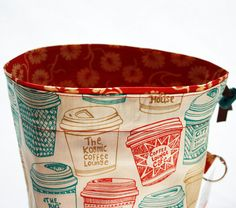 Knitting Project Bag, Coffee Cup