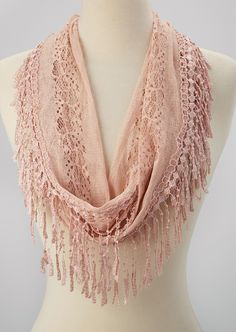 Pink Crocheted Fringe Infinity Scarf