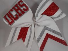 Items similar to Cheer Bow Red White Silver or ANY color ribbon and 2 glitters Custom Just For Your School Team! Letters / Colors Team Bows on Etsy Cute Cheer Bows, Cheer Hair Bows, Cheer Mom, Cheer Stuff, Cheer Pics, Softball Bows, Football Cheer, Cheerleading Gifts, Cheerleading Stunting