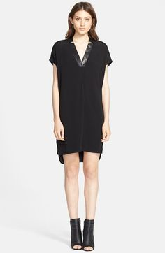 Vince Leather Trim Popover Dress | Nordstrom