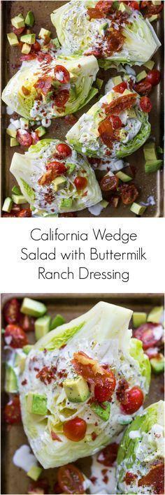 California Wedge Salad with Prosciutto Crumbles and Buttermilk Ranch Dressing | littlebroken.com @littlebroken